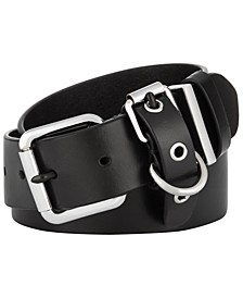 Flat-Strap Multi-Loop Leather Belt