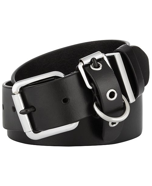 Calvin Klein Flat-Strap Multi-Loop Leather Belt