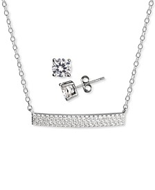 2-Pc. Set Cubic Zirconia Pavé Bar Pendant Necklace & Solitaire Stud Earrings in Sterling Silver, Created for Macy's