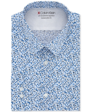 Calvin Klein Men's Extra-Slim Fit Performance Stretch Empire Print Dress Shirt