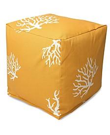"""Coral Ottoman Pouf Cube 17"""" x 17"""""""