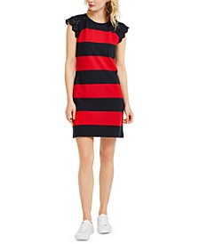 Striped Embroidered-Sleeve Dress
