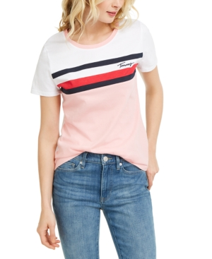 Tommy Hilfiger COTTON STRIPED COLORBLOCKED T-SHIRT