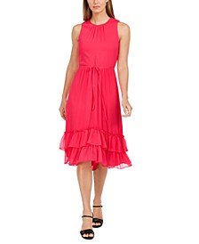 Sleeveless Tiered-Chiffon Midi Dress