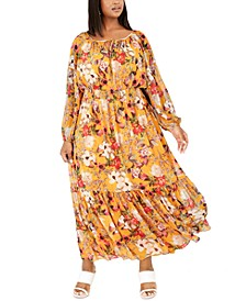 INC Plus Size Printed Ruffled Peasant Dress, Created For Macy's