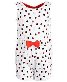 Baby Girls Cotton Ladybug Bow-Back Romper, Created for Macy's