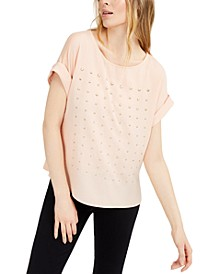 Studded Cuffed-Sleeve Top