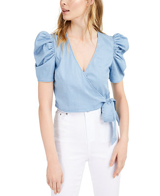 Chambray Puffed-Sleeve Wrap Top, Created for Macy's