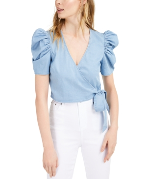 Chambray Puffed-Sleeve Wrap Top