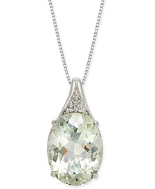"Mint Quartz (9 ct. t.w.) & White Topaz (1/8 ct. t.w.) 18"" Pendant Necklace in Sterling Silver"