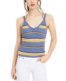 Juniors' Striped Sweater Tank Top