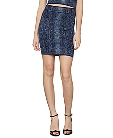 Snake-Embossed Jacquard-Knit Bodycon Skirt