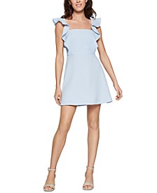 Ruffled-Strap Mini Apron Dress