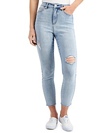 Ripped High-Rise Frayed-Hem Ankle Jeans
