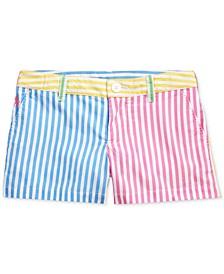 Toddler Girls Striped Cotton Poplin Shorts