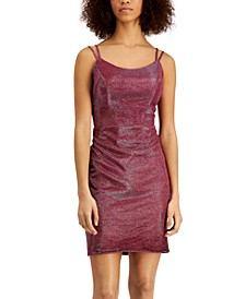 Juniors' Sherri Lace-Up Metallic Dress
