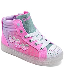 Little Girls' Twinkle Toes: Shuffle Brights 2.0 - I Heart U High Top Light-Up Casual Sneakers from Finish Line