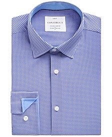 Con.Struct Men's Slim-Fit Non-Iron Performance Stretch White & Navy Geometric Cooling Comfort Dress Shirt