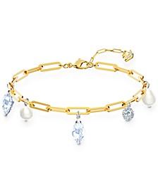 Gold-Tone Crystal & Imitation Pearl Charm Link Bracelet