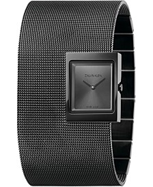 Women's Offsite Black PVD Stainless Steel Mesh Cuff Bracelet Watch 22x28mm
