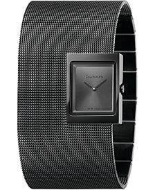 Calvin Klein Women's Offsite Black PVD Stainless Steel Mesh Cuff Bracelet Watch 22x28mm