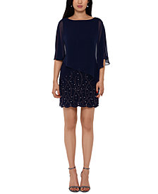 XSCAPE Embellished Overlay Shift Dress
