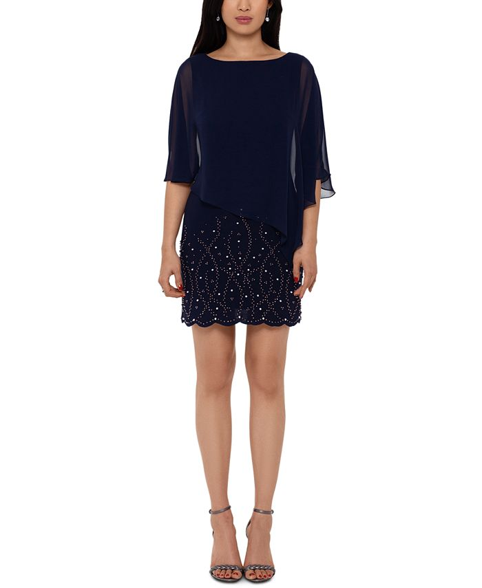 XSCAPE - Embellished Overlay Shift Dress