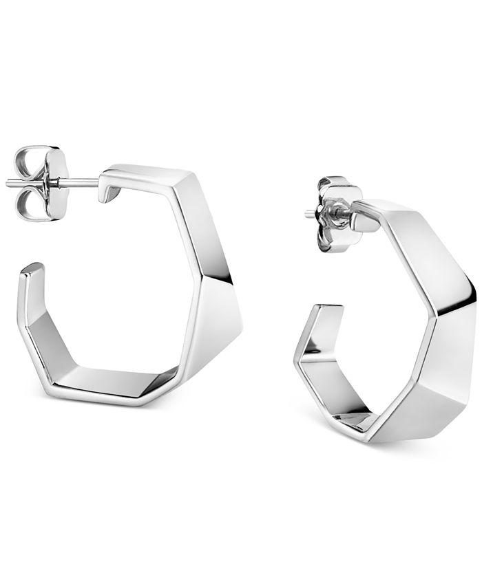 Calvin Klein - Angled Hoop Earrings in Silver-Tone