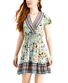 Juniors' Mixed-Print Surplice Dress