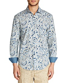 Men's Slim Fit Stretch Paisley Print Long Sleeve Shirt