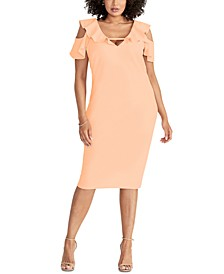 Trendy Plus Size Off The Shoulder Ruffle Sleeve Dress