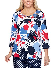 Petite Ship Shape Floral-Print Embellished-Neckline Top