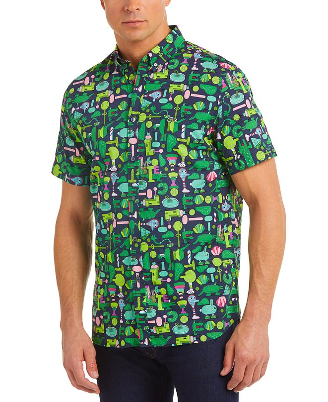 Lacoste Men's Croco Series Jeremyville® Graphic Printed Short Sleeve Shirt