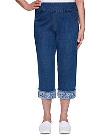 Petite Petal Pushers Embroidered Pull-On Jeans