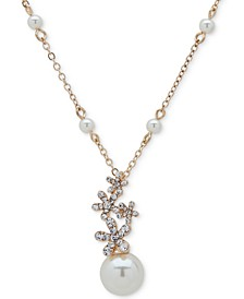 "Gold-Tone Imitation Pearl & Floral Crystal Pendant Necklace, 16"" + 3"" extender"