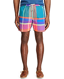 "Polo Ralph Lauren Men's 5.5"" Inch Plaid Traveler Swim Trunks"