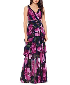 Petite Tiered Chiffon Gown