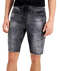 Men's Slim-Fit Stretch Drawstring Denim Moto Shorts