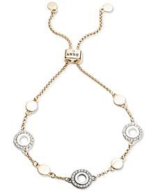 Tri-Tone Pavé Circle Slider Bracelet