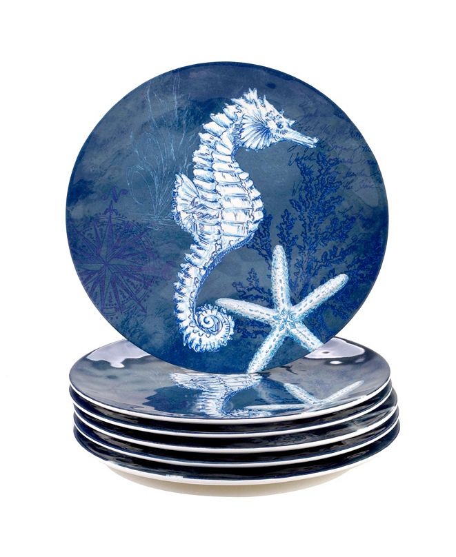 Certified International Oceanic Melamine 6-Pc. Dinner Plates