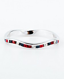 Red/White/Blue Swarovski Crystal Stackable ring in Sterling Silver