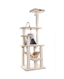 Cat Tree with Sisal Rope, Hammock, Soft-Side Playhouse