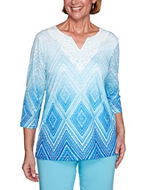 Petite Sea You There Diamond Lace Ombré Knit Top