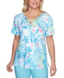 Petite Sea You There Coral Reef Lace-Yoke Top
