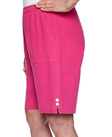 Petite Laguna Beach Cotton Gauze Button-Trim Shorts