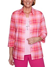 Petite Laguna Beach Plaid Layered-Look Shirt