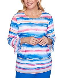 Petite Laguna Beach Striped Bell-Sleeve Top