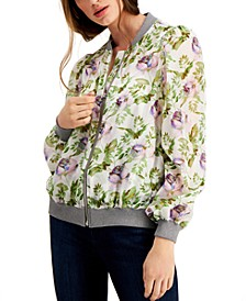 INC Petite Floral-Print Bomber Jacket, Created for Macy's