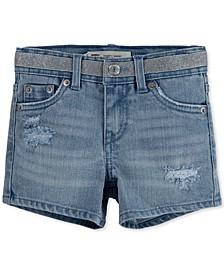 Little Girls Metallic Waist Distressed Denim Shorts