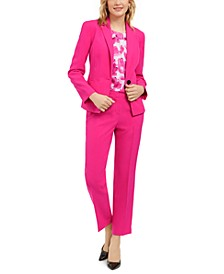 Single-Button Blazer, Floral-Print Blouse & Elastic-Back Dress Pants